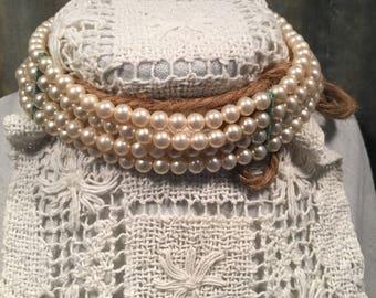 Vintage Champagne Pearl Choker
