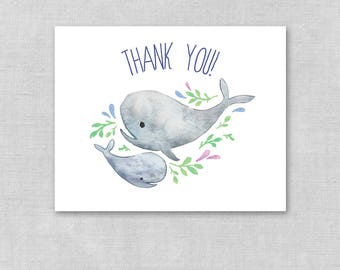 Printable Whale Thank You, Whales Blank Thank You Shower Card, Instant Download Thank You Card