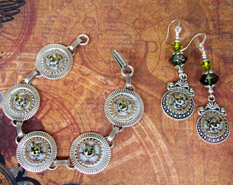 Steampunk Jewelry Set (Set720) Bracelet and Dangle Earrings, Silver Plated Hardware, Gears, Swarovski Crystals
