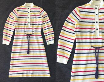 Vintage Dress / Retro Dress / Striped Dress / Long Sleeved Dress / 60s Dress / 1960s Dress / Small Dress / Medium Dress