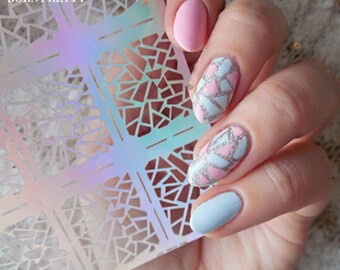 1 Sheet Irregular Pattern Nail Vinyls Rose Triangle Manicure Nail Art Stencil Stickers 12 Tips/Sheet