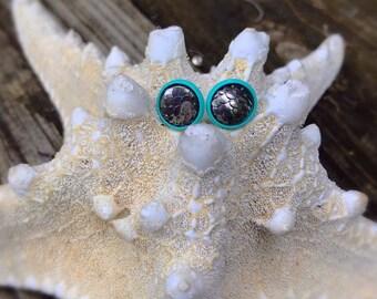 Gunmetal Mermaid Scales, Dragon Scale Earrings.