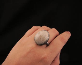 Sand dollar ring / Sea Jewelry / Sterling Silver / Natural Fossil /  Size 8.5 / Bohemian Ring / Raw Silver ring / Sea Life / Gift for her