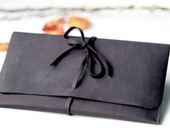 black leather envelope clutch - black envelope clutch - leather clutch bag - evening leather bag - leather handbag - small clutch purse