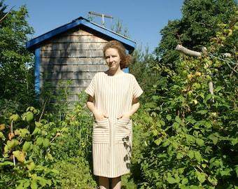 BRIDGE DRESS - organic cotton stripes - plant-dyed