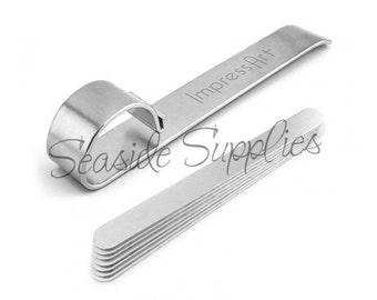 ImpressArt Bracelet Bending Bar KIT with 7 Aluminum Blanks, Impress Art Bracelet Maker, Bends Metal Strips for Easy Bracelets!