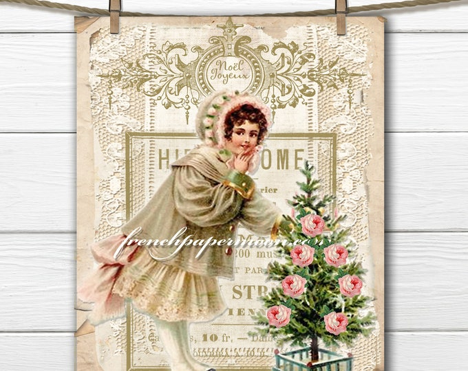 Digital Shabby Victorian Christmas, Vintage Girl, Christmas Tree, French Graphics, Joyeux Noel, Christmas Pillow, Crafts