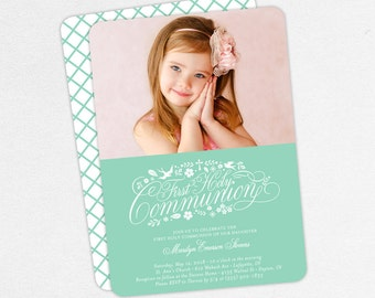 First Communion Invitation, First Holy Communion Invitation, Photo Communion Invitation, DIY Invite, PDF Invite, Printable, Mint, Marilyn