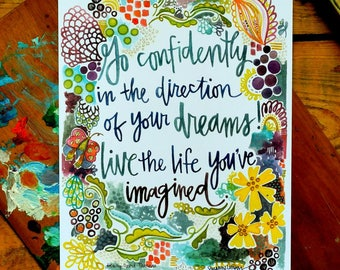 thoreau quote - 8 x 10 inches - go confidently in the direction of your dreams
