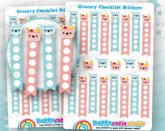 16 Cute Grocery Checklist Checklist Planner Stickers, Filofax, Erin Condren, Happy Planner,  Kawaii, Cute Sticker, UK