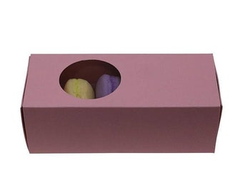 Mothers Day Sale 5 Pc Pretty Pink Cut Out Circle Window Front Macaron Boxes with Inserts 6 1/4 x 2 1/4 x 2 inches