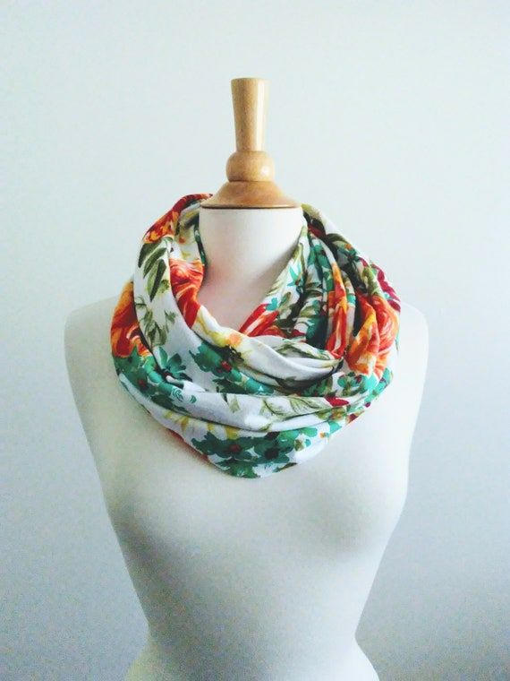 Floral infinity scarf white botanical print scarf orange flower circle scarf spring accessory gift for her teal aqua green scarf