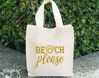 Beach Please Sackcloth bag, Vintage bag, Shopping Bag, Flax Screen Sackcloth bag, Party Bags, Gift Bag,Personalized,  Project bag