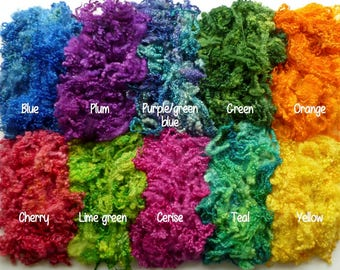 Choose any color wool locks for felting and spinning - hand dyed wool locks - effects fibres - bluefaced leicester locks - curly wool locks