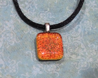 Small Orange Pendant, Sparkly Dichroic Necklace, Halloween - Rusty - 4434-3