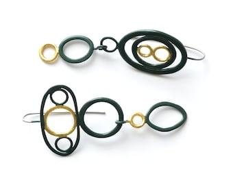dark forest green, long drop earrings, extra long, gold leaf, 24 karat gold, statement jewelry, steel hooks, asymmetrical earrings, mismatch
