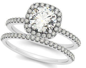 1ct  6.5mm  Forever Brilliant Moissanite Solid 14K White Gold  Halo  Engagement  Ring Set  - OV61904