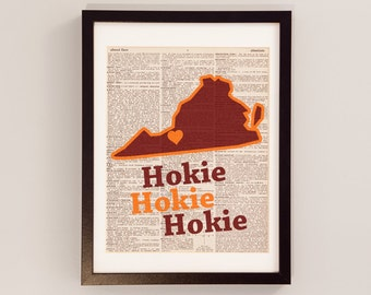 Virginia Tech Hokies Dictionary Print - Virginia Art - Print on Vintage Dictionary Paper - I Heart Blacksburg - VT Print - Hokies Art
