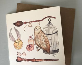 Illustrated 'Harry Potter' Themed Birthday Christmas Thank You Card - Hogwarts Hedwig Golden Snitch Butterbeer Deathly Hallows Firebolt Art