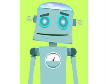 Retro Pop Art Robots, set of four 11x14 Digital Download