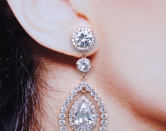 Bridal Earrings Rose Gold Cubic Zirconia Solitaire Pear Drop Earrings Uber Glam Chic Cocktail Jewelry Best Bridal Earrings