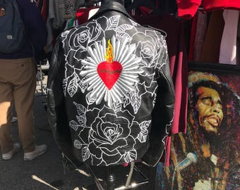 Hand painted Sacred Heart Leather Jacket