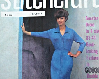 Sweater Knitting Patterns Stitchcraft Magazine 373 January 1965 Dress Turtleneck Cardigan Doily Women Men Vintage Paper Original, NOT a PDF