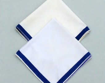 Vintage Napkins Pair of Blue & White Stripe Retro Kitchen Cloth Napkins