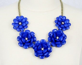 Blue Flower Necklace Statement Necklace Beaded Rose Necklace Peony Necklace Big Flower Necklace