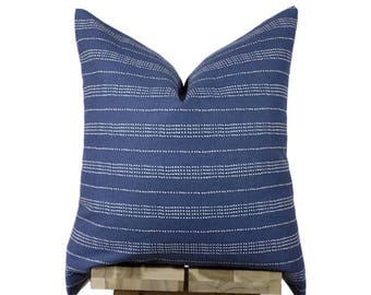 Navy Striped Pillow Cover | Minimalist Dotted Stripes | 'Uma'