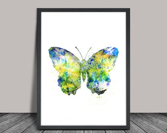 Butterfly Watercolor Painting, Butterfly Art Print, Butterfly Poster Wall Art, Watercolor Art, Archival Art Print (84)