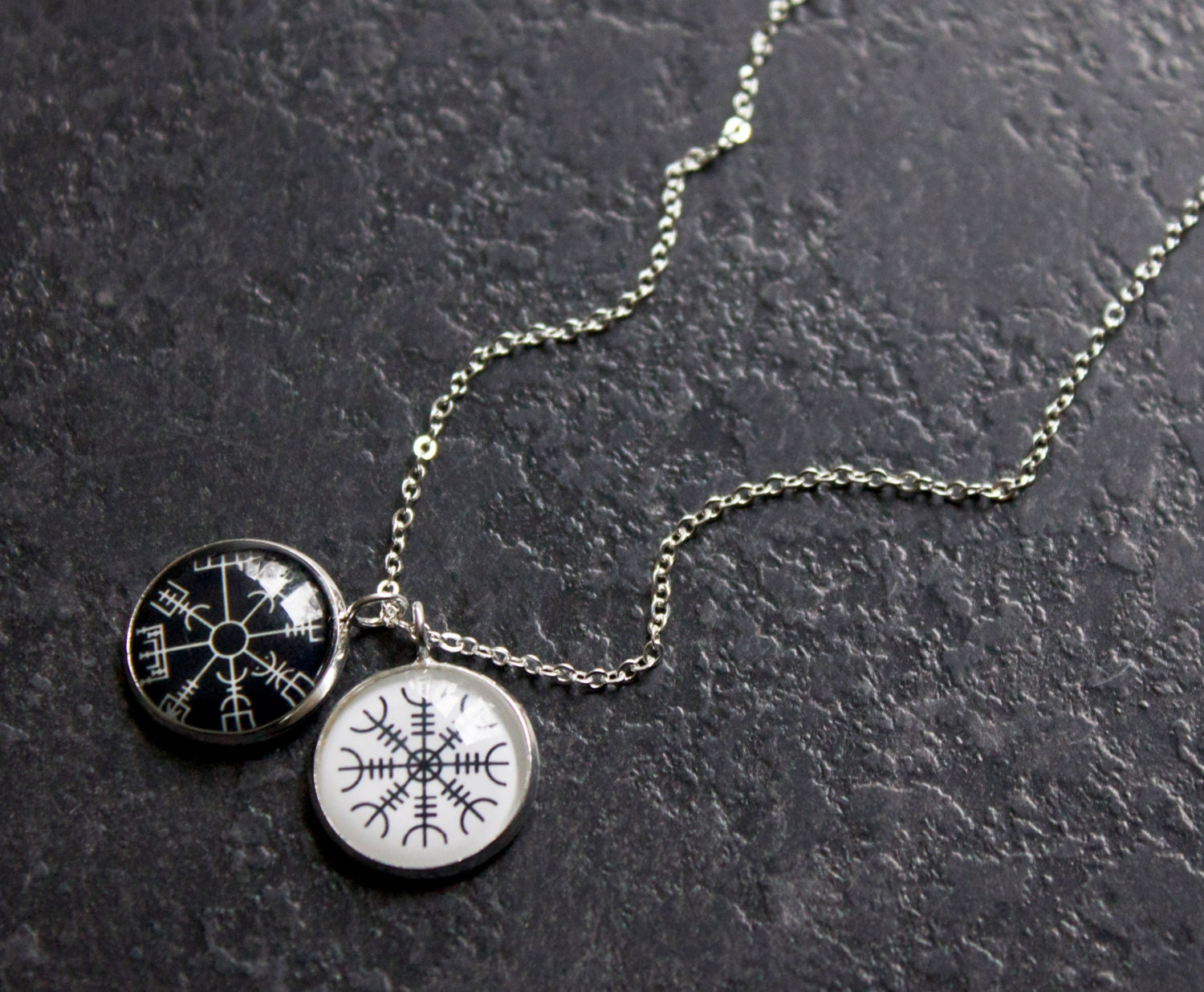 Icelandic necklace helm of awe and vegvisir necklace zoom aloadofball Images