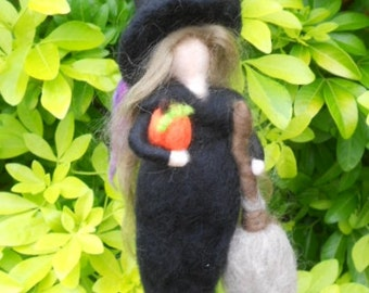 Needle felted Witch, Waldorf inspired, Halloween