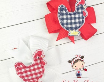 Set of 2 ROOSTER*CHICKEN*FARM Embroidered Hair Bows Super Cute and Fun