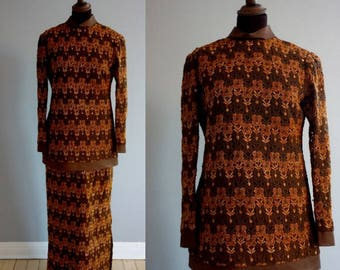Brown Bronzed Metallic 1960s - 1970s 1-Piece Set / Vintage Skirt and Top / Brown Evening Wear