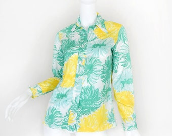 Sz XS 70s Colorful Floral Print Vera Neumann Blouse - Vintage Green and Yellow Abstract Long Sleeve Women's 1970s Shirt - Size Extra Small