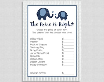 Navy Price is Right Game, Navy Elephant Baby Shower Game, Grey Chevron, Baby Boy Shower Game, INSTANT DOWNLOAD