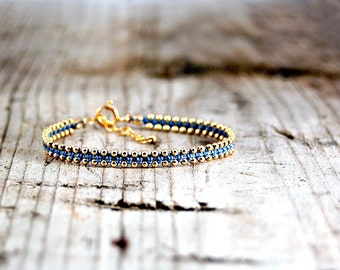 Friendship bracelet light Blue and Gold,dainty bracelet,handmade bracelets,stack bracelets,trendy jewelry,bracelet for her,thin bracelet