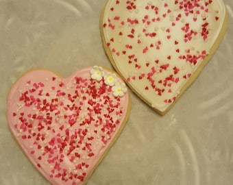 LARGE Sugar Cookies Fresh Made - Made to Order 1 Dozen Icing Sprinkles Valentines Day Fun