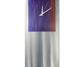 Blue/Red Modern Clock 'Sunset Studio Clock' by Helena Martin - Metal Wall Decor Funky Art Clock on Ground and Colored Aluminum