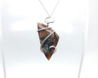 Snake River Dendritic Agate Pendant Necklace | Sterling Silver Pendant | Rare Gemstone | Eastern Oregon | Agate Jewelry | Oregon Idaho Agate