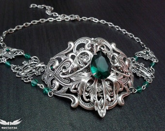 Gothesque - Gothic Choker Necklace with Custom Color - Silver Plated Metal Choker - Victorian Gothic Jewelry