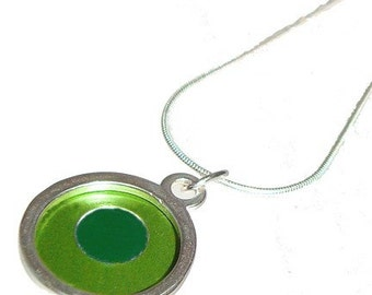 Small Two Tone round lime/green Pendant
