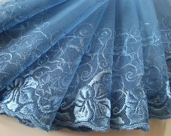 90 cm of wide embroidered lace on tulle color teal 14 cm wide