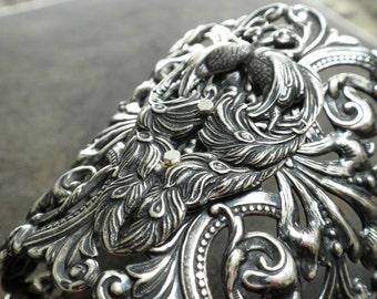 Silver Cuff Bracelet for Women Peacock Jewelry