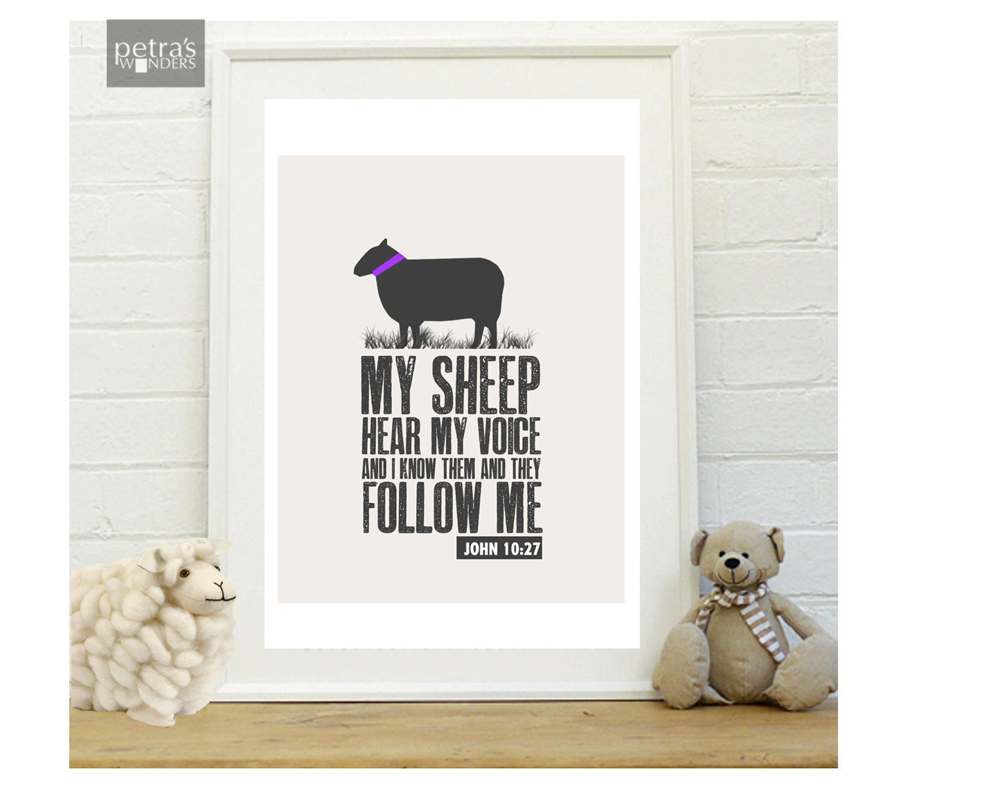 Sheep Wall Art Bible Verse Print Scripture Art Print In A