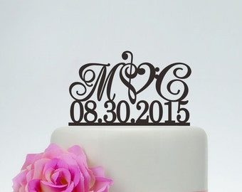 Wedding Cake Topper,Initials Cake Topper With Date,Custom Cake Topper,Music Note Cake Topper,Personalized Cake Topper I025
