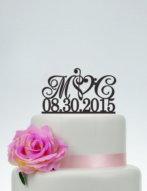 Wedding Cake Topper Initials With Date Custom Music Note Personalized I025