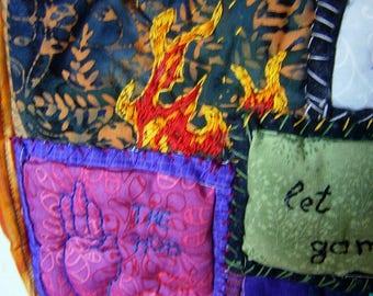 Flammen Patchwork Tasche,Umhängetasche, Schultertasche,Flammen,Buttercup,Patchwork, Geekery,handgenäht