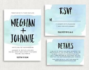 Wedding Invitation and RSVP Card (Watercolors) - Digital File, PDF, DIY, Printable, Calligraphy, Script, Black, Blue, Watercolors, Printed